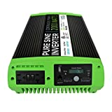 GoWISE Power PS1009 2000W Continuous 4000W Surge Peak Power Pure Sine Wave Inverter w/Digital LCD Display, Black/Green