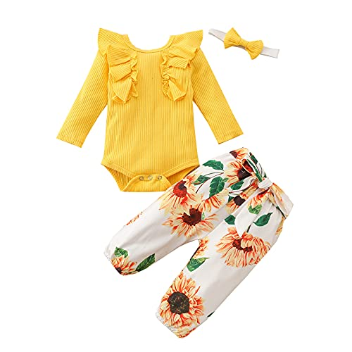 Psafagsa Ropa de verano para bebé de 3 piezas, conjunto de body con volantes florales, 0-24 meses, Amarillo 2, 3-6 meses