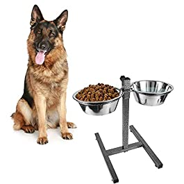 Dog Elevated Food Bowl Holder Set – Raised Cat Feeding Station Stand – Adjustable Height Pet Double Feeder – 2 Stainless Steel Water Bowls