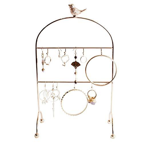 YANGYUAN Organizador multifuncional del sostenedor del pendiente y de la joyería, soporte de la joyería del pájaro dorado delicado, soporte de exhibición