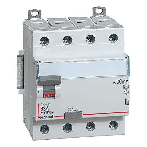 Legrand 411847 Interrupteur différentiel DX³-ID arrivée haute et départ bas à vis, 4P, 400V, 63A typeB, 30mA, 4 modules