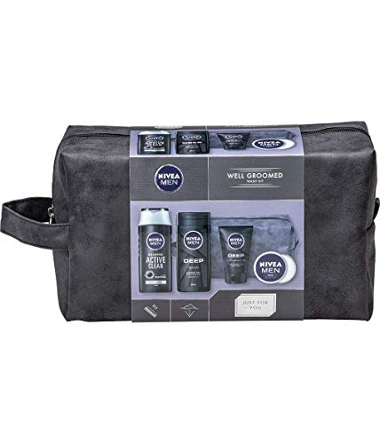 NIVEA MEN Well Groomed Gift Set for Him (5 Products), Men´s Grooming Kit & Washbag, Includes Shower Gel, Cleansing Men's Face Wash, Shampoo, and Men´s Moisturiser