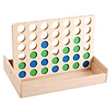 INPODAK Wooden 4 in a Row Game, Foldable Line Up Four Travel Game, Wood 4 in a Line, Classic Family Board Game for Kids