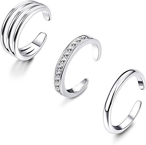 Milacolato 925 Sterling Silber Zehenring Set Damen Einfache Offene Dünne Band Ring Verstellbar Ringe Set für Frauen Mädchen Fußschmuck