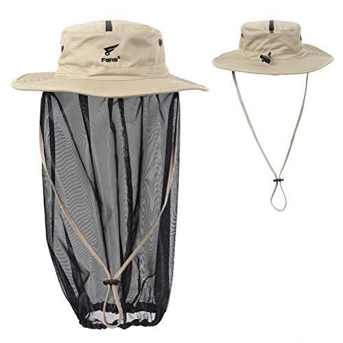 8 Fans Removable Head Net Hat Sun Hat Bucket Hat with Hidden Net Mesh Mask for Fishing Hiking Gardening Men Women Khaki