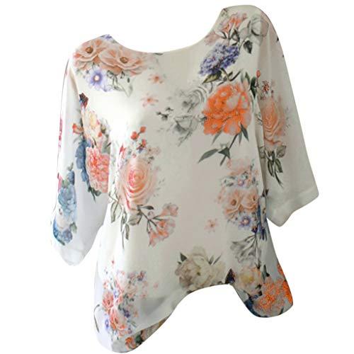 Zegeey Damen T-Shirt GroßE GrößEn Blumendruck Schulterfrei Schicker Elegant LäSsige Lose Oberteil Bluse Pullover Tops Shirt Hemd(B4-Gelb,38 DE/L CN)