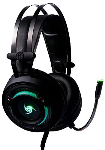 VSG Arkan Audífonos Gamer con Sonido Envolvente 7.1 Virtual, Full Ear, Ergonómico, Micrófono Flexible e Iluminación RGB de 7 Colores - Negro