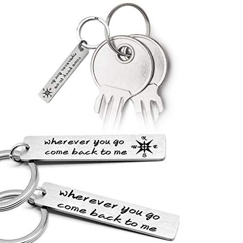 Asdf586io Cute and Charm Keychains, Wherever You Go Come Back to Me Pendant Keychain Key Ring Holder Gift Decor - 2