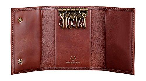 Cronus & Rhea® | Custodia in pelle esclusiva per portachiavi di lusso (Janus) | Key Case - Keychain | Vera pelle | Con elegante scatola regalo | Uomini - Donne (Marrone scuro)