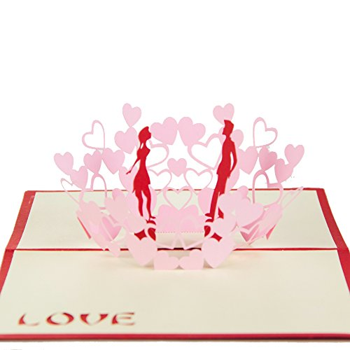 Sweet Lover in Hearts Handmade Kirigami & Origami 3D Pop UP Greeting Cards in Red