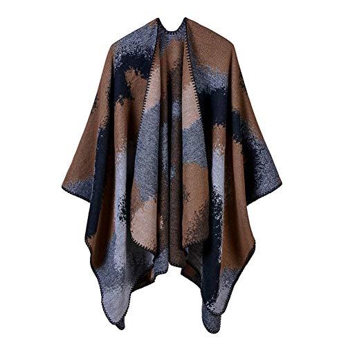 CHENGWJ sjaal sjaal vrouwen Poncho en capes kasjmier gebreid dikker warm winter sjaal effen kleur oversized deken lady sjaal jas