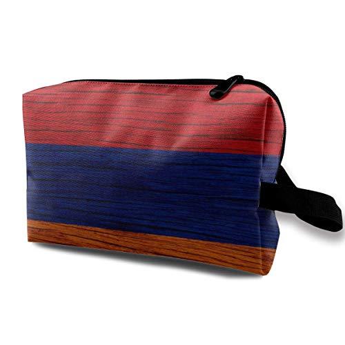 Armenische Textur Armenische Flagge Kosmetiktasche Tragbare Entzückende Geräumige Reise Make-up Taschen Bleistift Paket Organizer