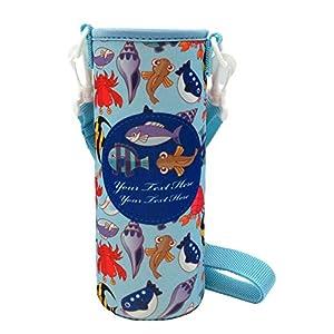 panda family(パンダファミリー) 水筒カバー 水筒ホルダー 肩掛けベルト付き ファンシー柄 ゆめかわいい キャラクター 缶 ボトルカバー 海の魚 Lサイズ