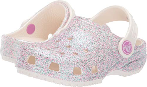 Crocs Kids' Classic Glitter Clog | Sparkly Slip On Shoe for Toddlers, Oyster, 11 US Little Kid