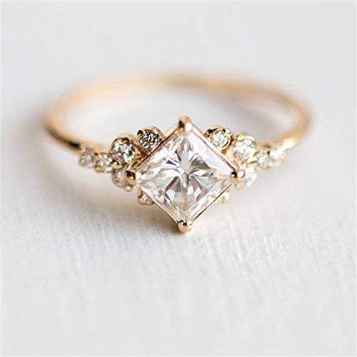 Metmejiao Exquisite Ring Square Morganite Engagement Ring Diamond Wedding Ring 14k Gold Plated 925 Sterling Silver Engagement Ring Band for Women (7)
