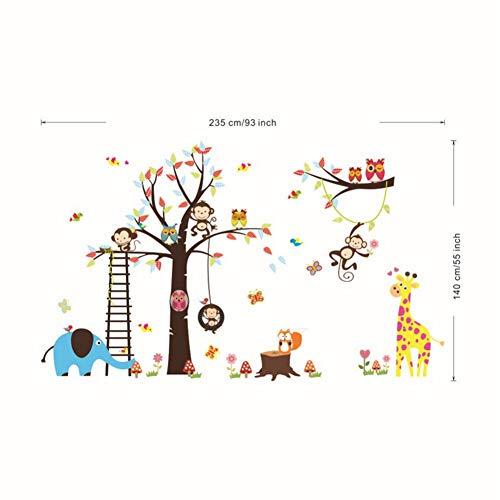 Mddjj Oversize muurstickers voor kinderdagverblijf Cartoon Giraffe Olifant Uilen Geld Klimmen Boom Samen met Ladder Muurstickers Woonkamer Decoratie Kinderkamer