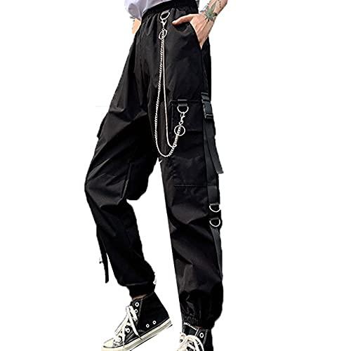 GenericBrands Damen Cargo Pants Schnalle Band Tasche Jogger Elastic Waist Streetwear Harajuku Bequeme atmungsaktive Hose