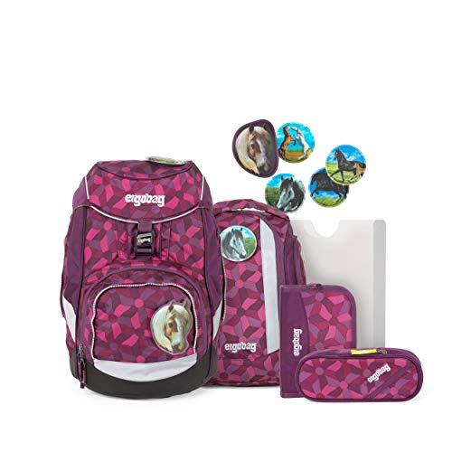 ergobag pack Set - ergonomischer Schulrucksack, Set 6-teilig - NachtschwärmBär - Lila