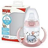 NUK First Choice+ bicchiere antigoccia | 6-18 mesi | Beccuccio in silicone a prova di perdite | Controllo temperatura | Sfiato Anti-Colica | Senza BPA | 150ml | Disney Eeyore Rossa
