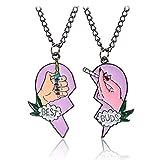 MingJun Juego de 2 piezas de collar con colgante en forma de corazón con el texto en...
