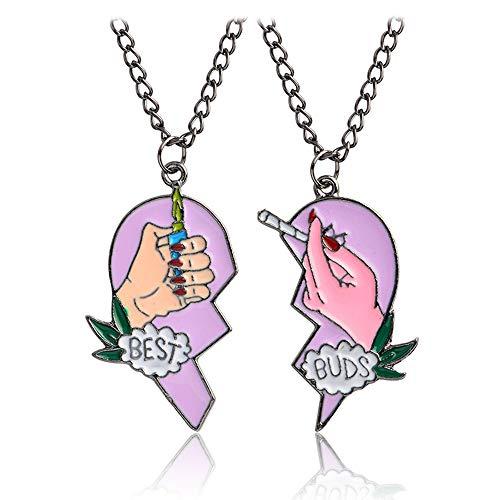 Mingjun 2 Piece Set Heart Pendant Necklace Best Buds Print...