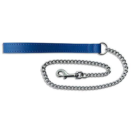 BBD Pet Products Hundeleine, Leder, Einheitsgröße, Medium, 76,2 x 1,6 cm, Königsblau