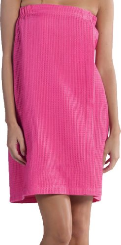 BY LORA Lightweight Wrap Towel, Bath Wrap for Women, Ladies Spa Cover up, Hot Pink Fucsia