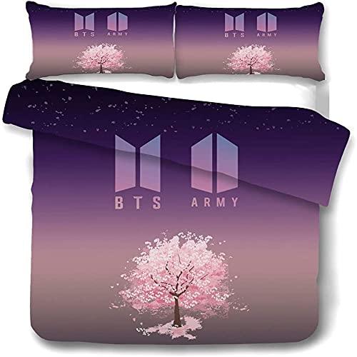 MYLZZ (BTS) Juego de ropa de cama 3D, súper suave, 3 piezas, edredón de microfibra, con cremallera y dos fundas de almohada (008,220 x 260 cm/50 x 75 cm)