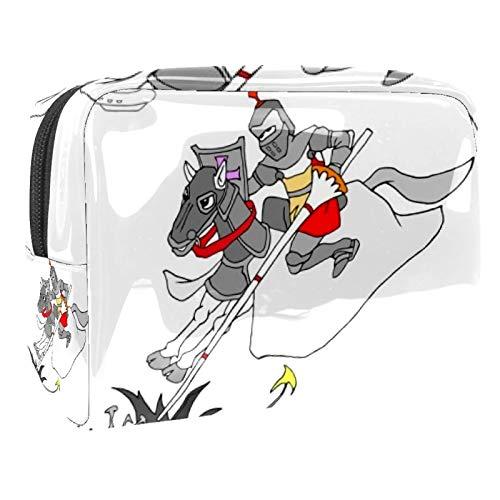Bolsa de maquillaje portátil con cremallera bolsa de aseo de viaje para las mujeres práctico almacenamiento cosmético bolsa de caballero heroico