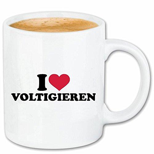 Reifen-Markt Taza de café con texto 'I Love Voltigieren' – equitación – Salto – Cerámica de viaje – 330 ml en blanco