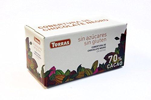 Cobertura de Chocolate Negro en Gotas Sin Gluten y Sin Azúcar
