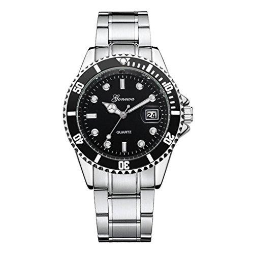 Cebbay Reloj de pulsera analógico de cuarzo de liquidación GONEWA Hombre Moda militar de acero inoxidable Fecha Deporte Ocio Moda