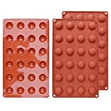 Molde de silicona semicircular de media esfera de silicona, 24 cavidades, para gelatina, bombones y pasteles, color rojo