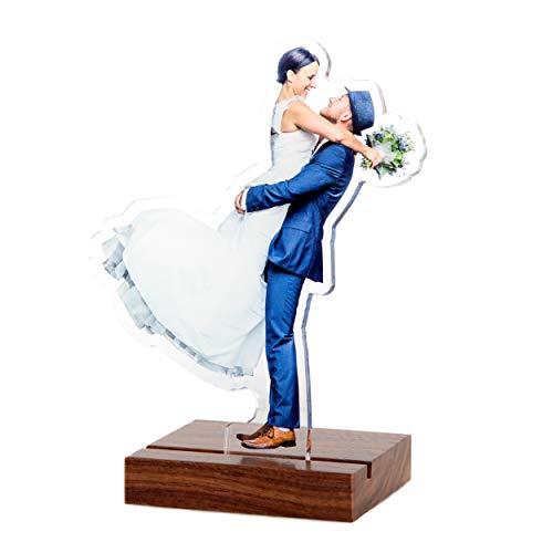 Plexipeople - Dein Foto auf Acrylglas - Personalisierte Geschenke auf Plexiglas - Einzigartige Fotogeschenke zur Geburt, Hochzeit UVM. S (max 15x18cm), Nussbaum