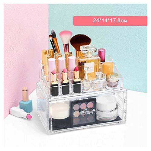 Étui de Maquillage Cosmétique Organisateur Tiroirs Clair Non-Acrylique Maquillage Boîte de Rangement Coiffeuse Table Cosmétique Boîte Maquillage Porte-Brosse Grand Espace UOMUN