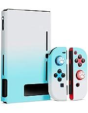 【Nintendo switch対応・ハードケース】スイッチ カバー 5点セット PCケース 薄型 軽量 Joy-Conカバー アナログスティックカバー 肉球カバー 分体式 全面保護ケース 耐久性 耐衝撃 キズ防止 衝撃吸収 着脱簡単 指紋防止 (ブルー/ホワイト)