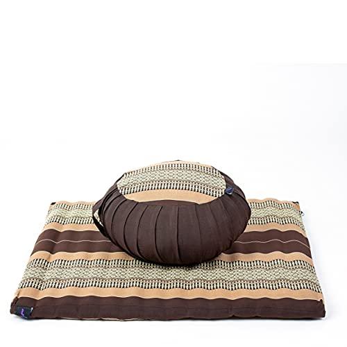 Leewadee Set da Meditazione con Fodera: Cuscino Zafu e Tappetino Zabuton per Yoga e Meditazione, materassino Tailandese in kapok Naturale, Marrone