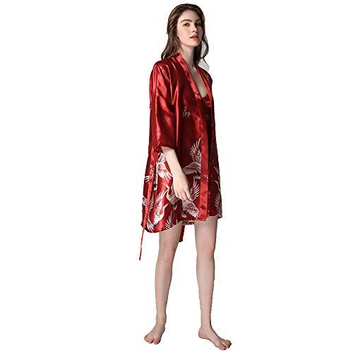 Vrouwen Kimono Robes, satijnen badjas Kraan En Blossoms Sleep Lounge Nightwear Short Silk Bruid Bruidsmeisje Robe met hemdje,1,XXL