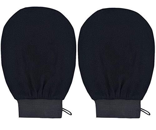 Manopla exfoliante guante exfoliante guante exfoliante profundo guante exfoliante guantes removedor guantes de limpieza para baño ducha spa cepillo (BlackX2Pack)