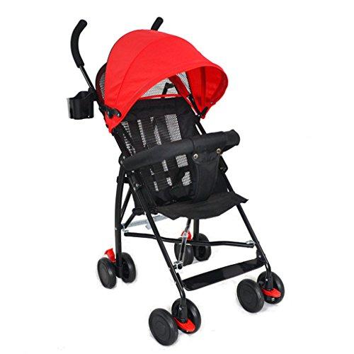 Poussette convenable pliable de poussette de bébé / 4 WheelTravel de poussette compacte de poussette légère (Color : Red)