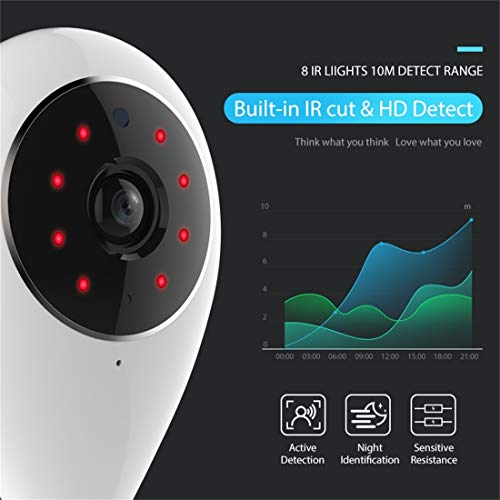 Cámara IP de WiFi Interior, con visión Nocturna IR y Monitor de múltiples ángulos y Control Remoto de teléfono móvil, cámara, Liqingshangmao