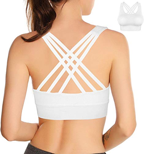 Double Couple Strappy Sports Bra for Women Crisscross Back Yoga Bra Activewear Fitness Bra (White, Medium)