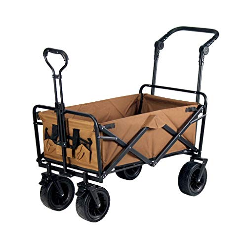 Outdoor Folding Utility Wagon Practical Portable Transport Vehicle, Outdoor Garden Cart, Folding Beach Wagon with Handle, Dual Brake System, Load-Bearing 100kg / 220lbs (Color : Style 3)