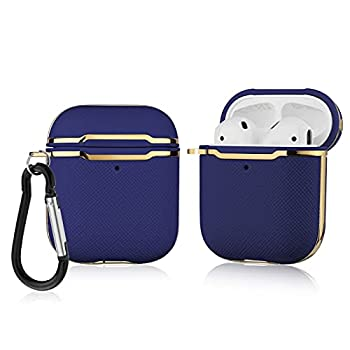 Compatible with Airpods 1&2 Gold Metal Decoration Airpods Case Anti-Drop Full Body Protective Slim Design Airpods Cover Wireless Charging Anti-Slip Airpods Accessories with Keychain  Royal Blue
