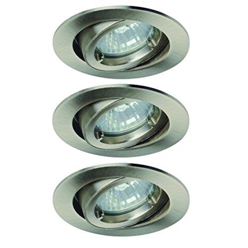 Lot de 3 Light Topps lt13137 Spot halogène encastrable Protection IP23 Blanc chaud 42 W Fer