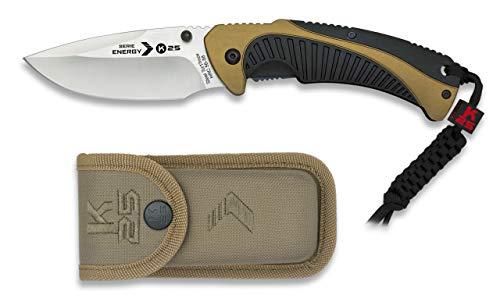 Navaja K25 Energy Hoja 8 cm para Caza, Pesca, Camping, Outdoor, Supervivencia y Bushcraft K25 19784 + Portabotellas de regalo