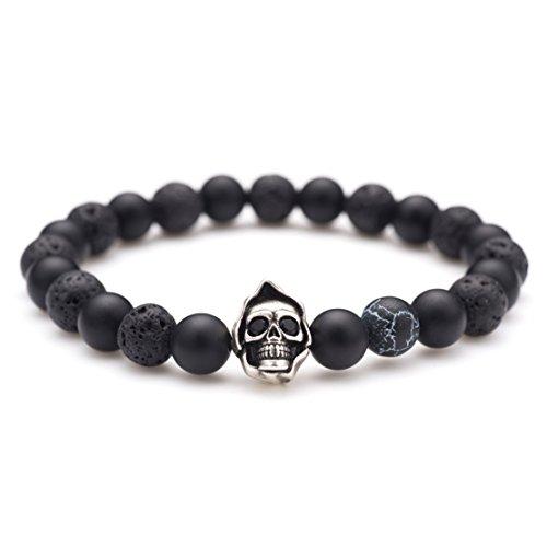 Karseer Black Matte Onyx Lava Rock Energy Stone Beaded Stretch Bracelet, Vintage Silver Grim Reaper Skull Dark Lightning Agate Bead Bracelet, Personalized Aromatherapy Diffuser Bracelet for Anxiety