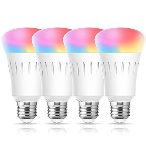 LOHAS Smart Bulb RGB Color Changing Dimmable, A19 WiFi Smart LED Bulb 60W Equivalent, Daylight Warm White 2700-6000K, E26 Edison Bulbs Work with Alexa, Google Home, No Hub Required, UL Listed, 4 Pack