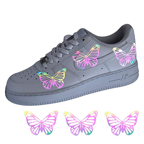 Detail Butterfly Rainbow Reflective Iron on Patches Decal for Air Force 1 Custom, Perfect Stickers for Custom Reflective Butterfly AF1 Boots (6 pcs)