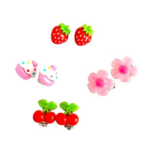 Toyvian Mädchen-Ohrclips, sortiert, 4 Paar (Erdbeere, Kirsche, Blume, Eiscreme)